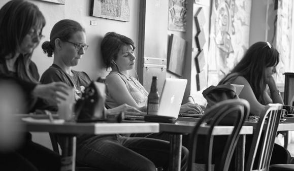 Customers hanging out at a coffee shop